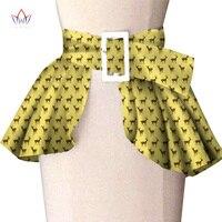 African Print Wide Waist Corset Belt Button Skirts For Women Gift Handmade Dress With Belt Bow