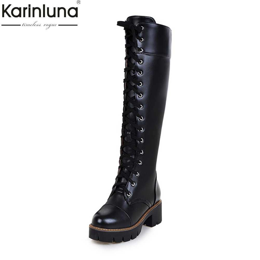 KarinLuna 2018 แฟชั่นขนาดใหญ่ขนาด 34-43 รองเท้าส้นสูงผู้หญิงรองเท้าผู้หญิงรองเท้าหญิงเข่า - สูงรองเท้าผู้หญิงรองเท้า