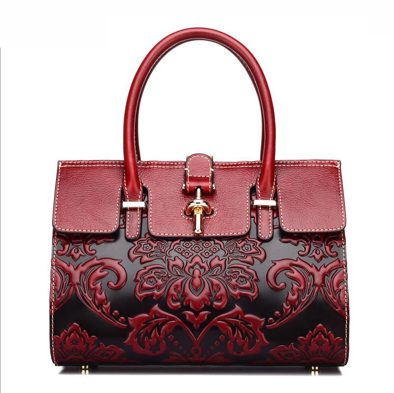 2016 new women genuine leather bag retro fashion chinese style quality luxury women leather handbags shoulder cowhide embossing
