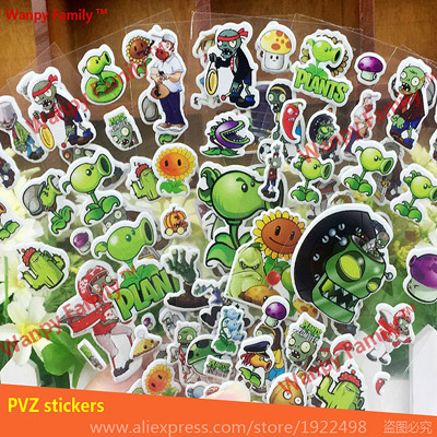 10 Pcs/Set Plants Vs Zombies wall stickers Hot mobile game PVZ Mini Bubble stickers for Kids Stationery toys Stickers