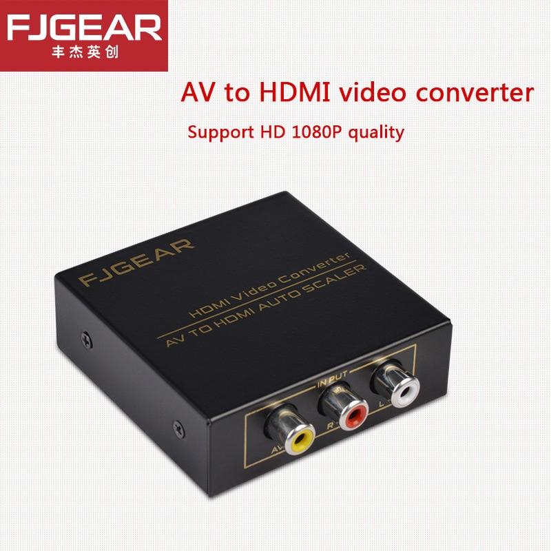 FJGEAR  AV TO HDMI converter  Mini Composite CVBS to HDMI Converter AV 2HDMI RCA2HDMI 720 p/1080 p in plastica o Metallo effelon hdmi to av rca composite