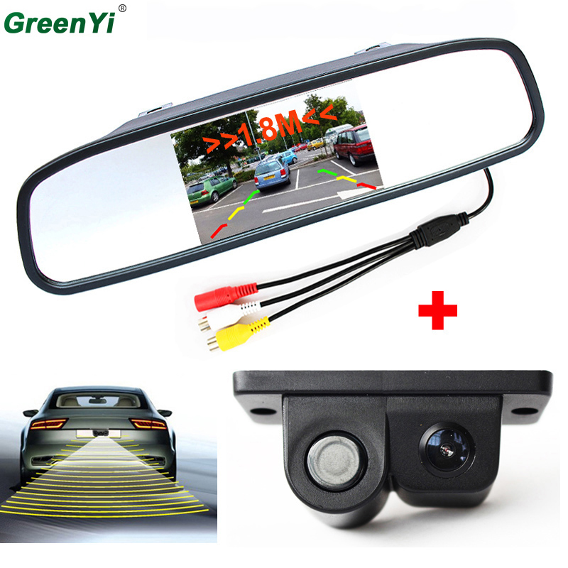 3 in1 Sound Alarm Reverse Backup LED Parking Sensor With Car CCD Rear View Camera 4