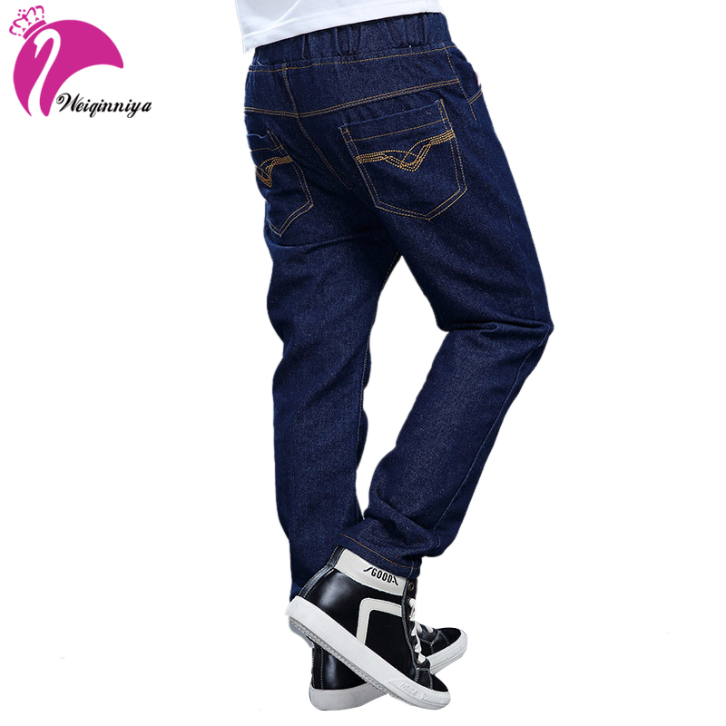 Baby Jeans Pants Full Fashion Boys Denim Jeans For Spring&Autumn 6-15Y Children's Denim Trousers Kids Dark Blue Pants