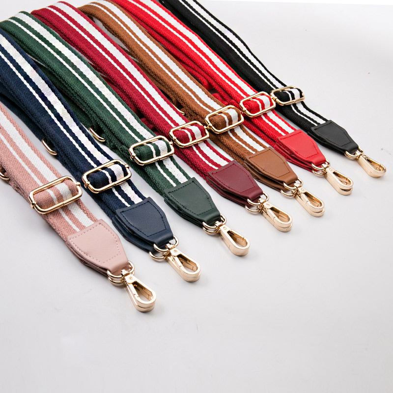 140*3.8cm Women Canvas Handles For Handbags Strap Casual Shoulder Stripe Handbags Cross Body Messenger Bag Strap Belt KZ151332