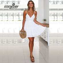 New 2018 Summer Dress Women Fashion V-Neck Spaghetti Strap Sexy Dress Women Backless Bow White Lace Mini Beach Dress Vestidos