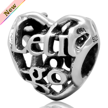 """Diy carta corazón de los granos """" Let it be ir """", Original 925 encantos de plata ajustar para pulseras pandora joyería envío gratis"""