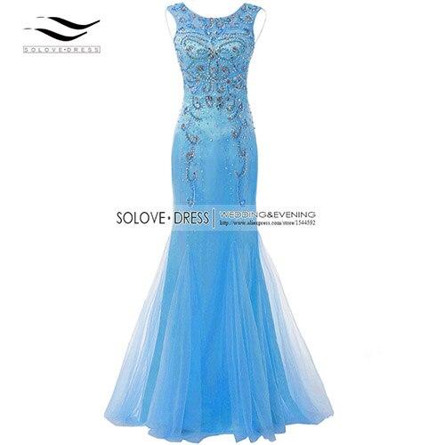 Элегантная ткань Накладка для кнопки рукав Кристалл бисером длинное платье выпускного вечера тюль русалка платье выпускного вечера Longo Vestido de festa(SLP-011 - Цвет: Blue