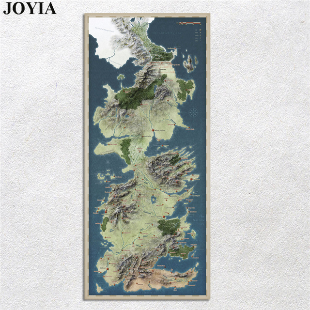 Game of Thrones Poster Song of Ice and Fire Map Fabric Canvas Art ...