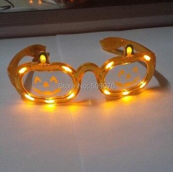 Free shipping 24pcs/lot 3mode orange led eyeglasses led pumpkin glasses led flash glasses for halloween party favors