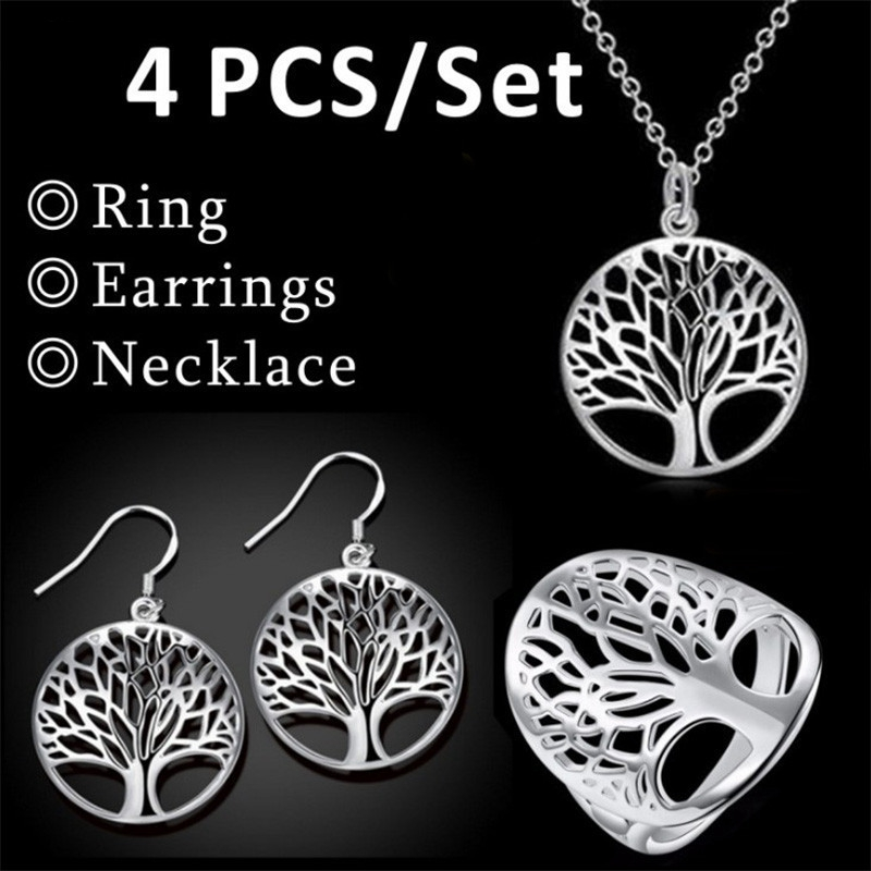 Hollow Tree of Life pendulo Pendant Necklace Wishing Tree  Earrings Bracelet 4pc/Set Reiki Pendulum For Dowsing Women Jewelry
