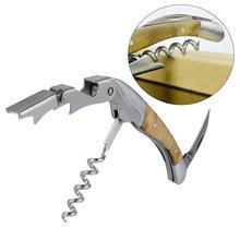 1 Pc Multifunction Wine Bottle Opener Wooden Handle Bottle Opener Corkscrew Soda Glass Cap Remover Household Bar Tool