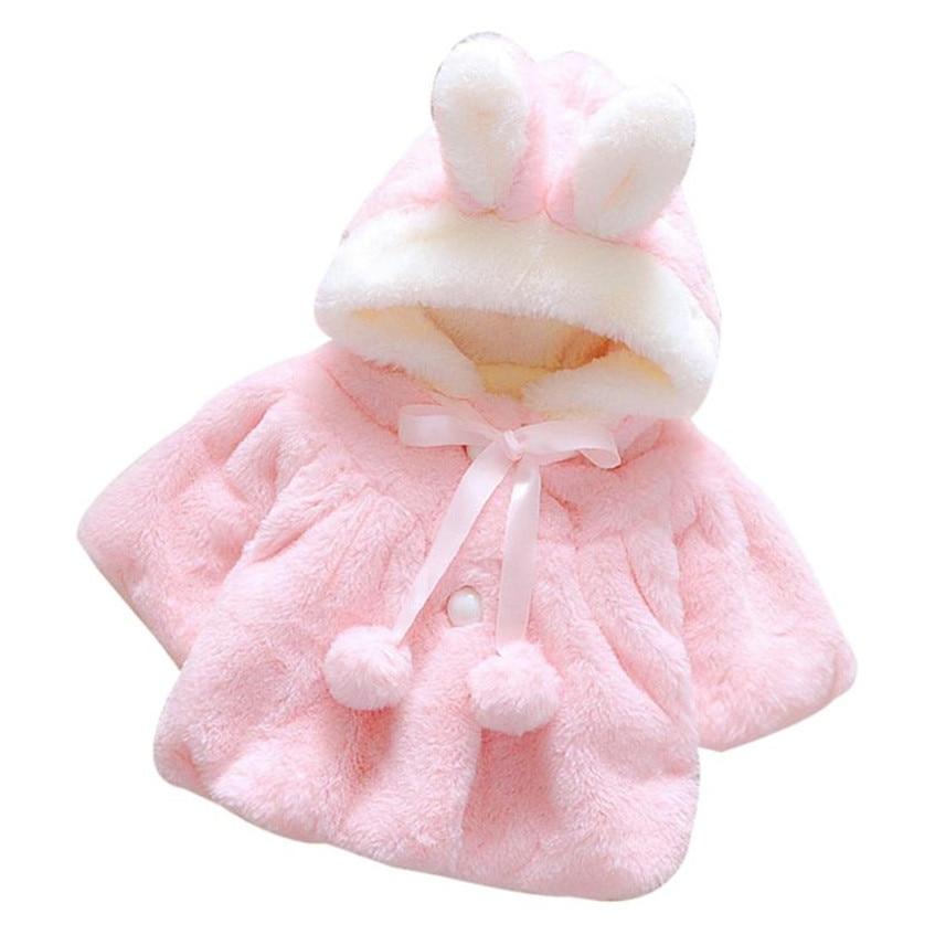 Attent Baby Meisjes Winter Leuke Mantel Jas Koreaanse Stijl Boog Baby Kids Dikke Warme Kleding Pasgeboren Haarbal Hoed Capuchon 823 Nieuwste Technologie