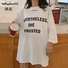 Whoholl Casual Women Summer Top Short Sleeve Tee Shirt Femme Elegant Lady Letter Print Cotton Tshirt Harajuku Dames T XXL