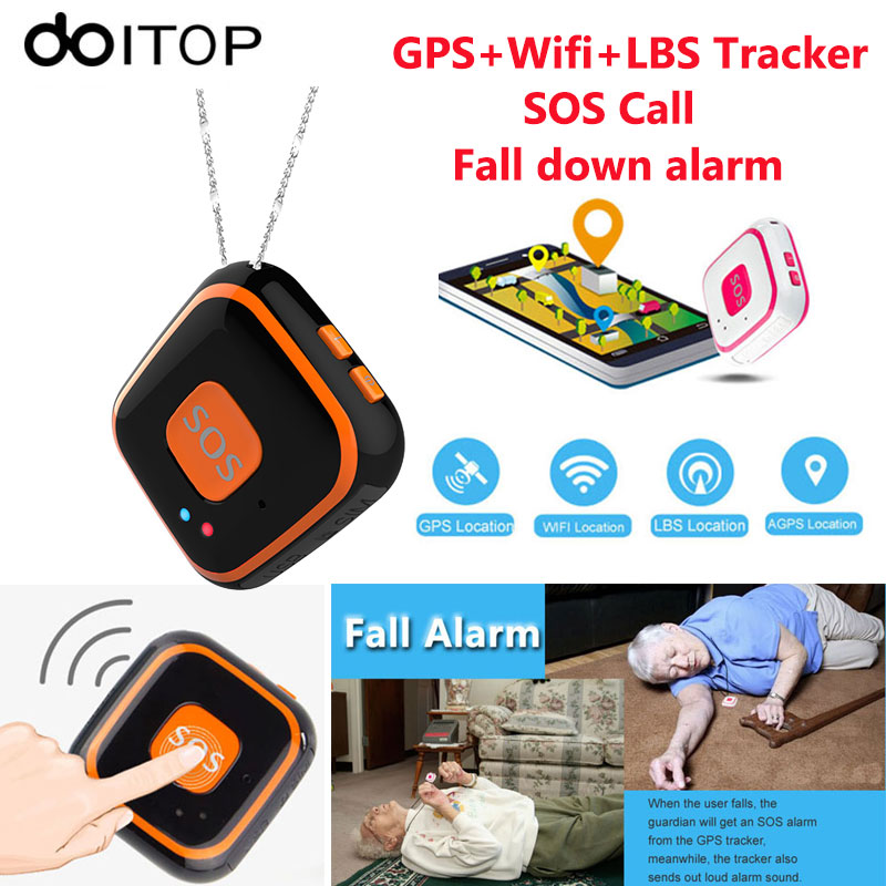 DOITOP GPS+Wifi+LBS Tracker V28 Mini Elderly Children Kids GPS Locator Anti-lost Real-time Tracking SOS Call Fall Down Alarm C4 3g gps tracker mini kids gps locator rf v42 wcdma gsm track child elderly tracking gps wifi lbs positioning fall alarm camera