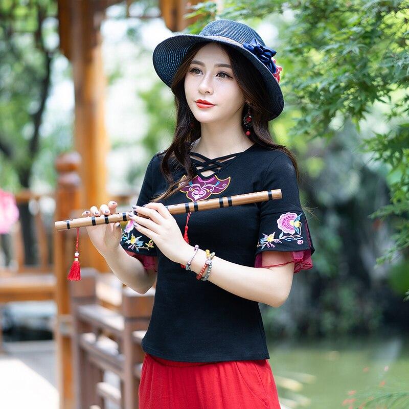 3b7d5849830 KYQIAO tradicional chino ropa mujer verano México estilo étnico de manga  corta cuello en v bordado negro camiseta