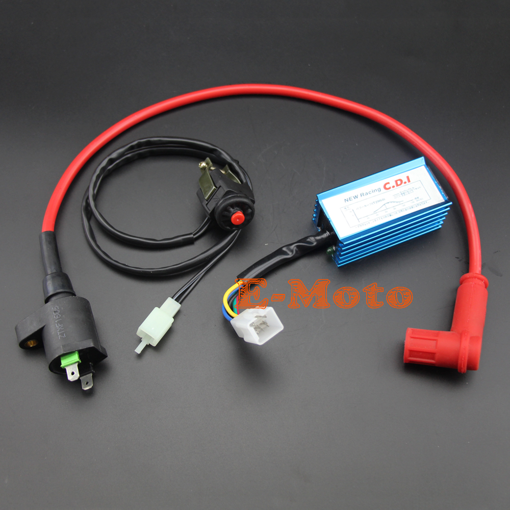 Motorcycle Racing Ignition Coil 5 Pin Ac Cdi Kill Switch Kit For 110cc 125cc Pit Dirt Bike Free