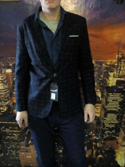 Mężczyzna plaid blezer bawełna mieszane casual płaszcz slim fit - Odzież męska - Zdjęcie 6