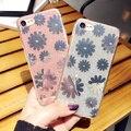 Moseko glitter em pó da flor da margarida para iphone 7 plus Bling Espumante Luxo Silicone Macio TPU Capa Para iphone7 Plus caso