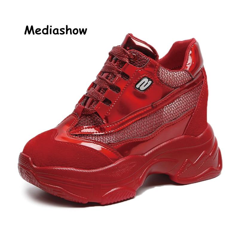 2018 Super-scarpe Scarpe Da Tennis Del Cuneo Donna Auutmn Dell'unitÀ Di Elaborazione Femminile Casual Hihg Scarpe Da Tennis Della Piattaforma Di Modo Comodo Respirabile Argento Rosso