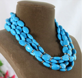 Woman Fashion Necklace Jewelry Bling Rhinestone Blue Turquoise Choker Necklace Multilayer Exaggerated Free Shipping