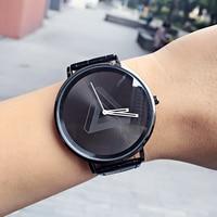 British Style Fashion Ladies Unique Watch Men Women Quartz Wristwatch Simple Leather Casual Clock Hours Triangle