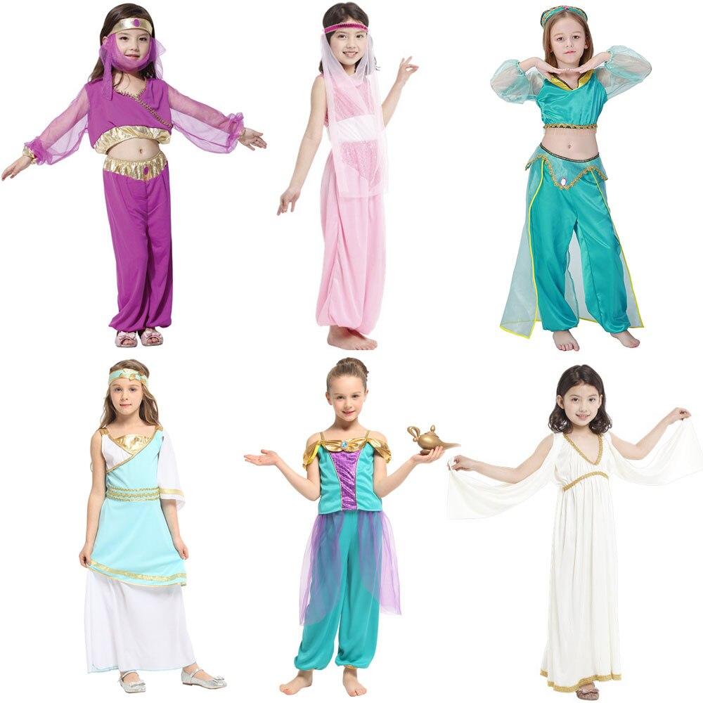 Umorden Kids Children Arabian Princess Costumes for Girls Princess Jasmine Cosplay Carnival New Year Halloween Party Dress Up Принцесса Жасмин