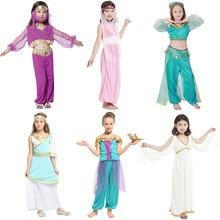 Umorden Kids Children Arabian Princess Costumes for Girls Jasmine Cosplay Carnival New Year Halloween Party Dress Up