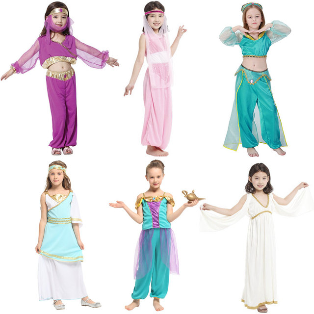 Umorden Kids Children Arabian Princess Costumes for Girls Princess Jasmine Cosplay  Carnival New Year Halloween Party Dress Up 4bda2b9ce0b0