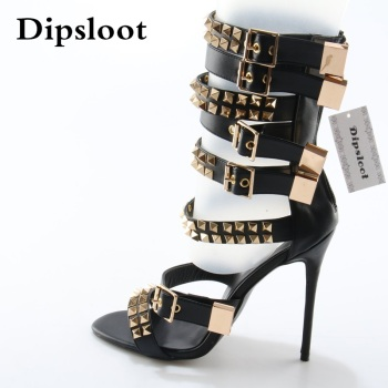 Summer Fashion Golden Rivet Leather Straps Women Open Toe Sandals 120 mm Ladies High Heel Zipper Back Roma Style Sandals Size 42