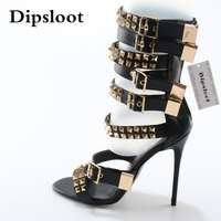 Summer Fashion Golden Rivet Leather Straps Women Open Toe Sandals 120 mm Ladies High Heel Zipper Back Roma Style Sandals Size 42