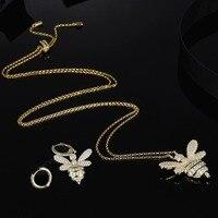 [MeiBaPJ]Real 925 Sterling Silver Golden Honeybee Pendant Necklace Asymmetric Earrings Jewelry Set for Women Fine Party Jewelry
