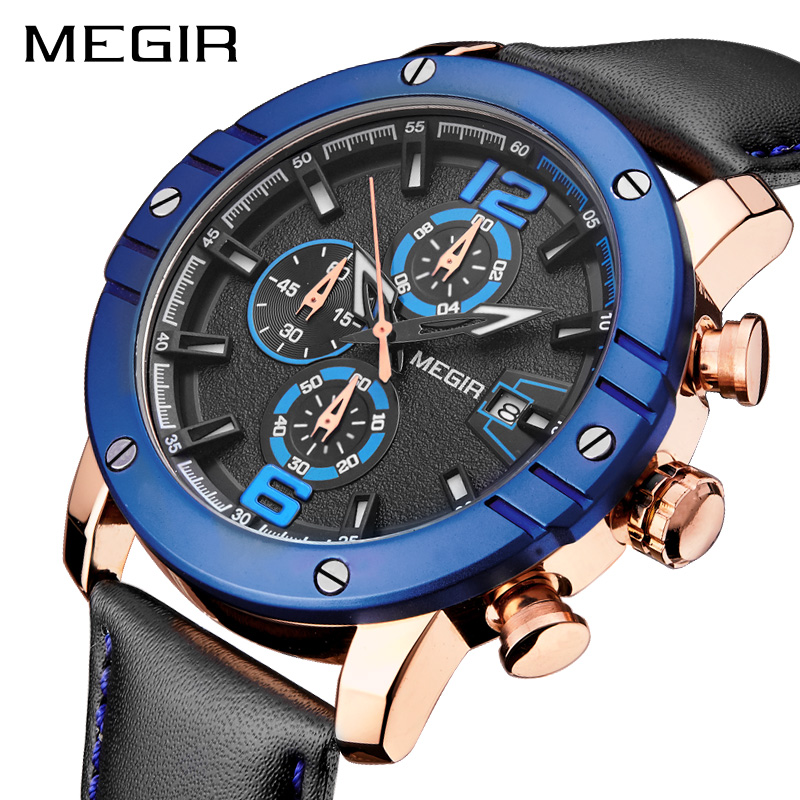 MEGIR Men Watch Relogio Masculino Top Brand Luxury Leather Military Watch Clock Men Quartz Watches Relojes Hombre 2018 Relogios dom men watch top luxury men quartz analog clock leather steel strap watches hours complete calendar relogios masculino m 11