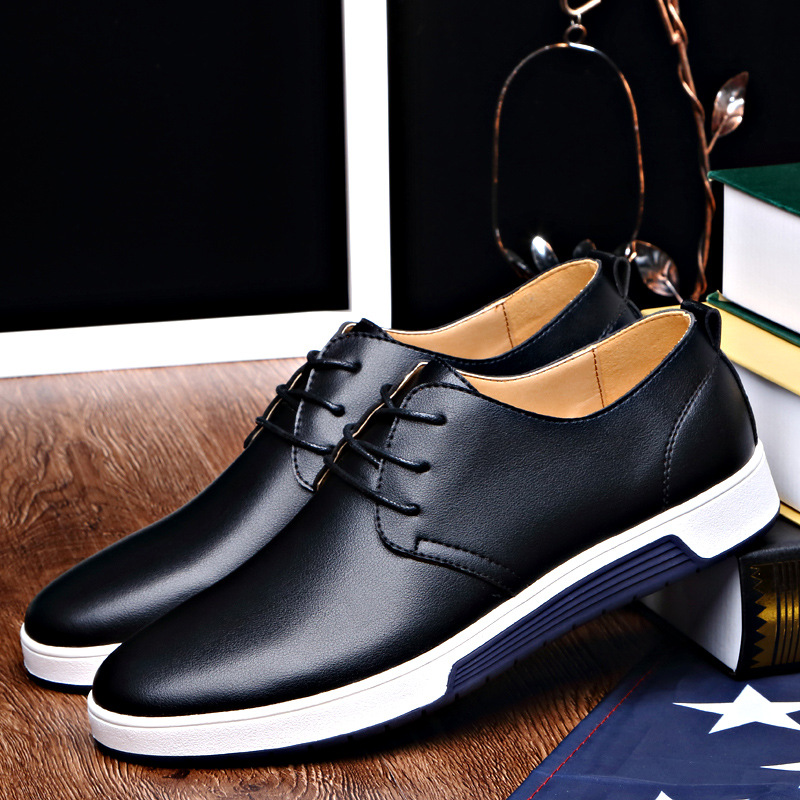 Image 4 - LAKESHI Luxury Brand Men Shoes Casual Leather Shoes Men Fashion Moccasins Loafers Trendy Black Flat Shoes For Men Oxfords Shoes-in Oxfords from Shoes