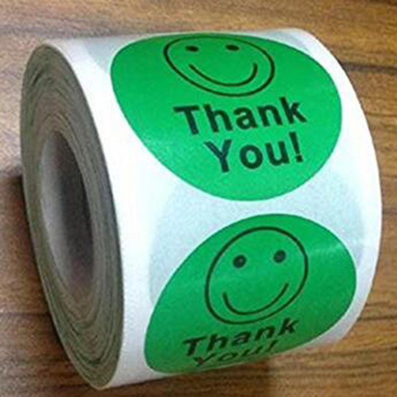 Купить с кэшбэком Manufacturer promotion Thank You Smiley Face Happy Stickers 500 Adhesive Labels Per Roll as promotional label or package label