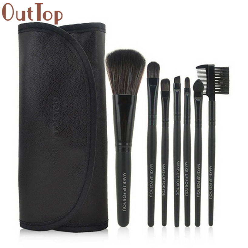 OutTop Brush Cosmetics 1 Set/7 PCS Wood Makeup Brush Makeup Cosmetic Tools Beauty Brushes Pinceis de maquiagem17dec27