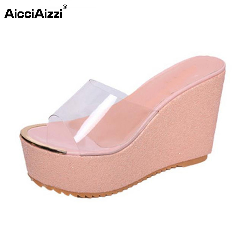 Women Shoes Women Sandals Wedge Heels Platform Peep Toe Slip On Summer Shoes Slippers Crystal Casual Party Footwear Size 35-39 lanshulan wedges gladiator sandals 2017 summer peep toe platform slippers casual glitters shoes woman slip on flats creepers