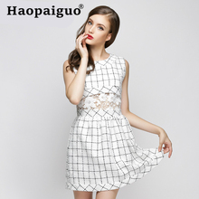 White Hollow Out Mini Wrap Summer Dress 2019 Sleeveless Corset Bodycon Bandage Women Print Plaid Europe Style Casual