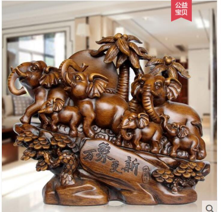 Bon augure sept éléphant ameublement un salon meuble TV décoration néoclassique maison cave à vin artisanat statue sculpture