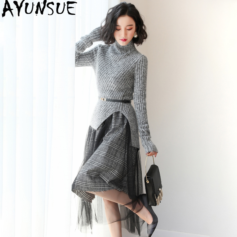 Printemps deux pièces ensemble pour femmes coréen tricot robe tempérament maille à manches longues robe femmes deux pièces tenues pull robe LW075
