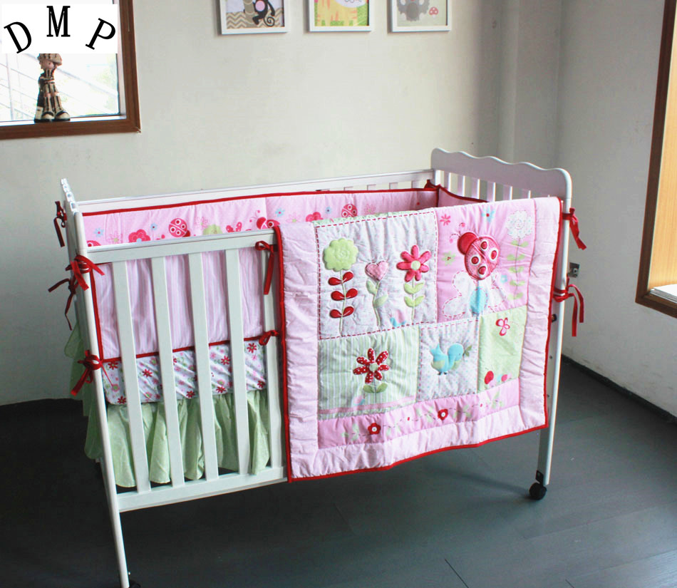 Promotion! 4pcs embroidered Baby Crib Bedding Set,Cotton Crib Bedding ,roupa de cama ,include(bumper+duvet+bed cover+bed skirt)
