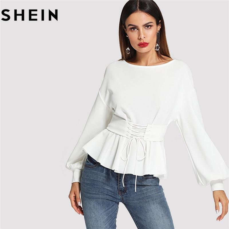 SHEIN Beige Long Lantern Sleeve Lady Work Elegant Blouses