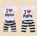 2017  baby Clothing Summer Set boys girls I Love Papa and Mama short sleeve t-shirt+pants suit kids pajamas set
