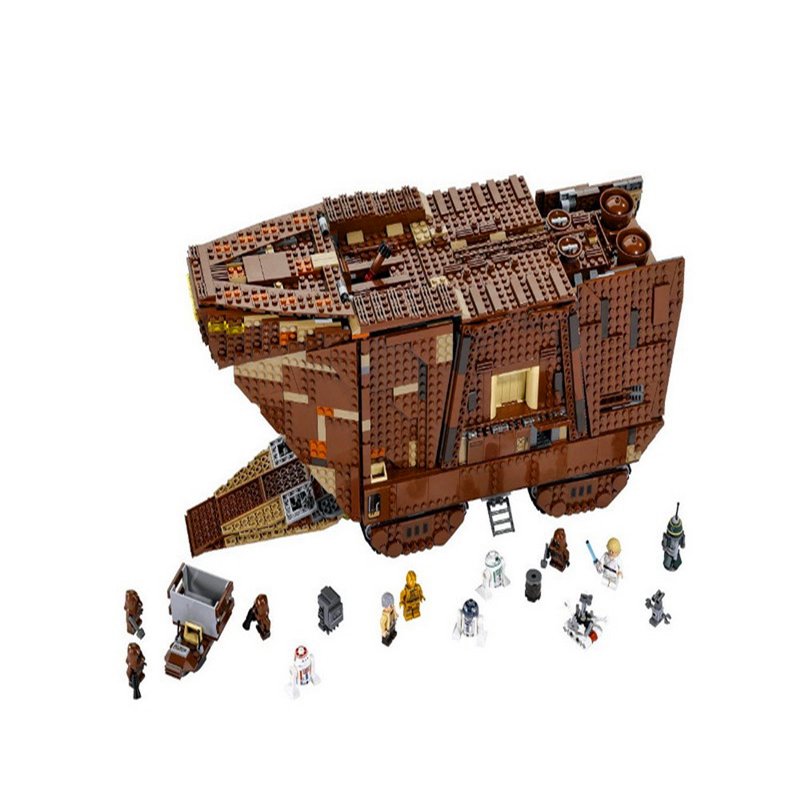 LEPIN 05038 3346Pcs Star Wars Force Awakens Sandcrawler Building Block Toys Educational Gift For Children Compatible Legoe 75059 lepin 24021 city creator 3 in 1 island adventures building block 379pcs diy educational toys for children compatible legoe