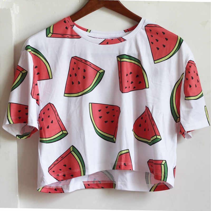 Zhbslwt moda impressão 3d camiseta feminina topo de colheita harajuku verão recortado topos t cartoon design curto t-shirts de manga curta