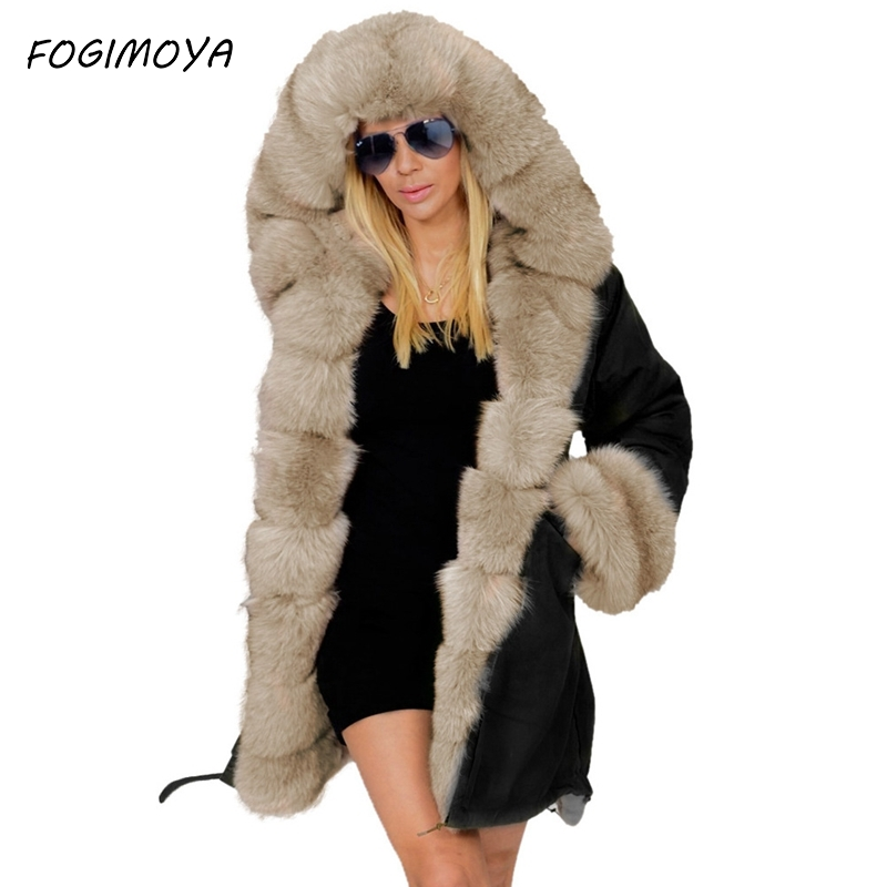 Slim Warm Women's Jacket Europe And The United States Long Fur Collar Hooded Coat Cotton Coat Military Down
