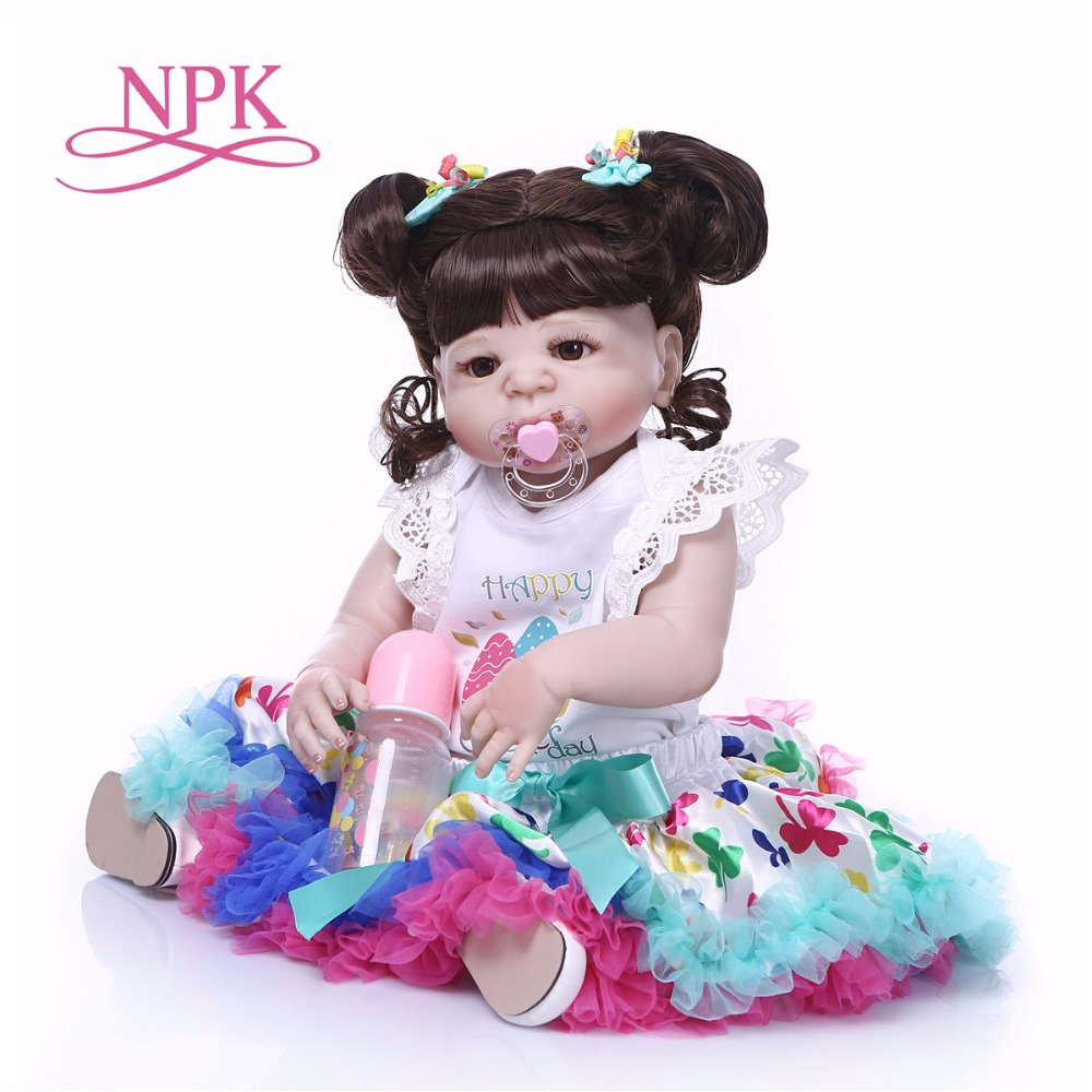 NPK 57CM New Arrival Baby Girl Reborn Dolls Toy Full Silicone Vinyl Real Life Reborn Alive