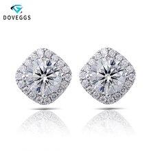 DovEggs Center 0.8ct 6mm F Colorless Halo Moissanite Diamond Stud Earrings For Women Classic 14K White Gold Brilliant Earrings