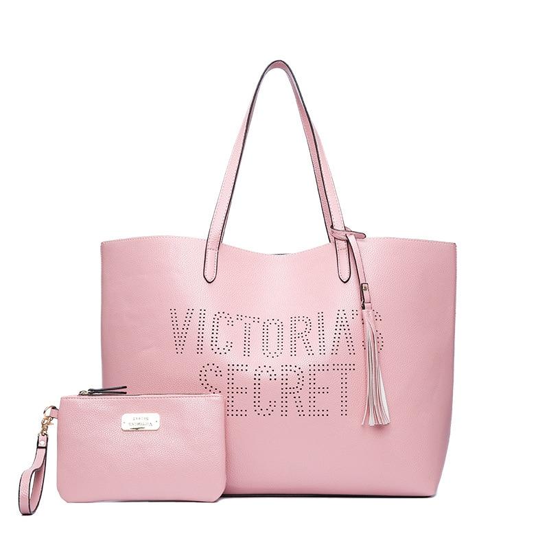 2pcs/set vs love pink girl bag travel duffel bag women Travel SHOULDER BAG Handbags beach large secret capacity shopping bags