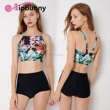 Bikini Geometry Floral Printed Girl Beach High Neck Bath Suit Swimwear  Women's Set Sexy Strappy Top & Boyshort Biquini все цены