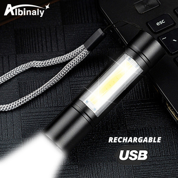 USB Rechargeable Flashlight 3 Lighting Mode COB+XPE LED Mini Flashlight Waterproof Portable Used for camping, cycling, work, etc panyue usb xml xpe cob led flashlight portable mini zoom torchflashlight waterproof in life lighting